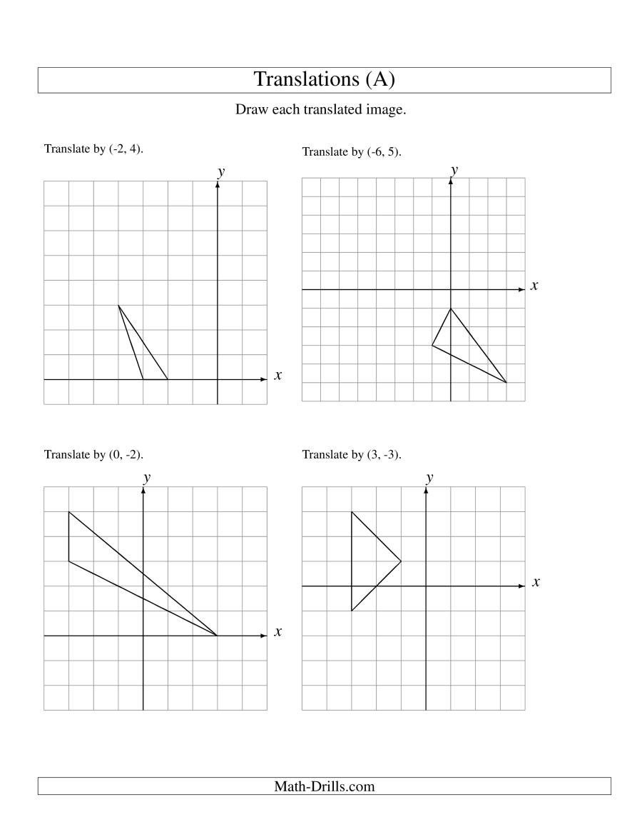 Transformations Math Worksheets Translating Shapes Worksheet