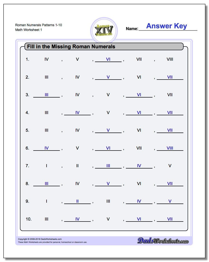 Translation In Geometry Worksheets Roman Numerals