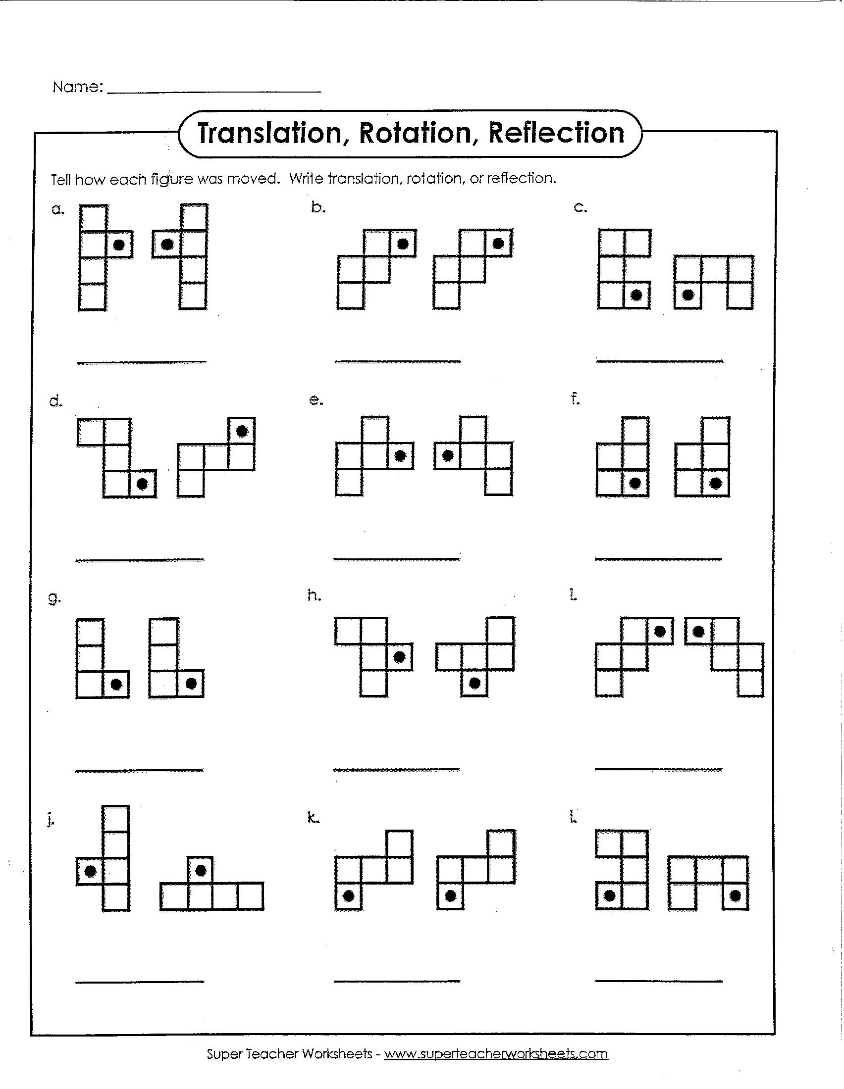 Translation In Geometry Worksheets Translation Rotation or Reflection – Math