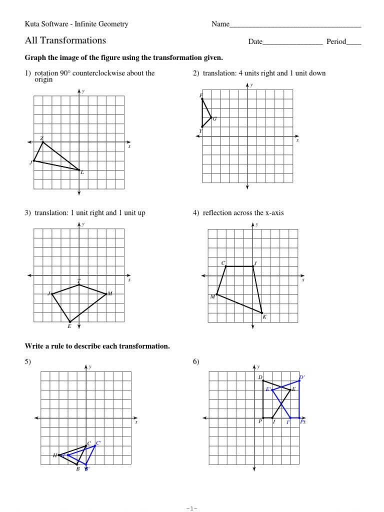 Translations Geometry Worksheets 12 All Transformations