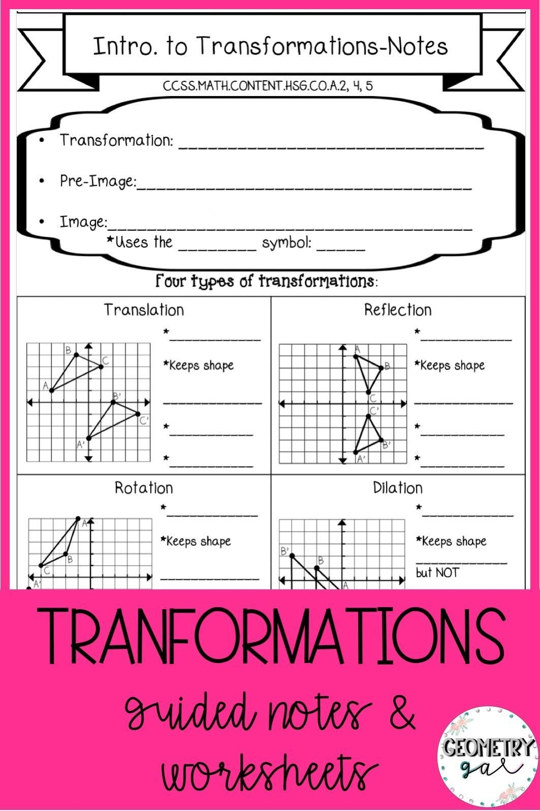 Translations Geometry Worksheets Geometry Transformations Guided Notes and Worksheets topics