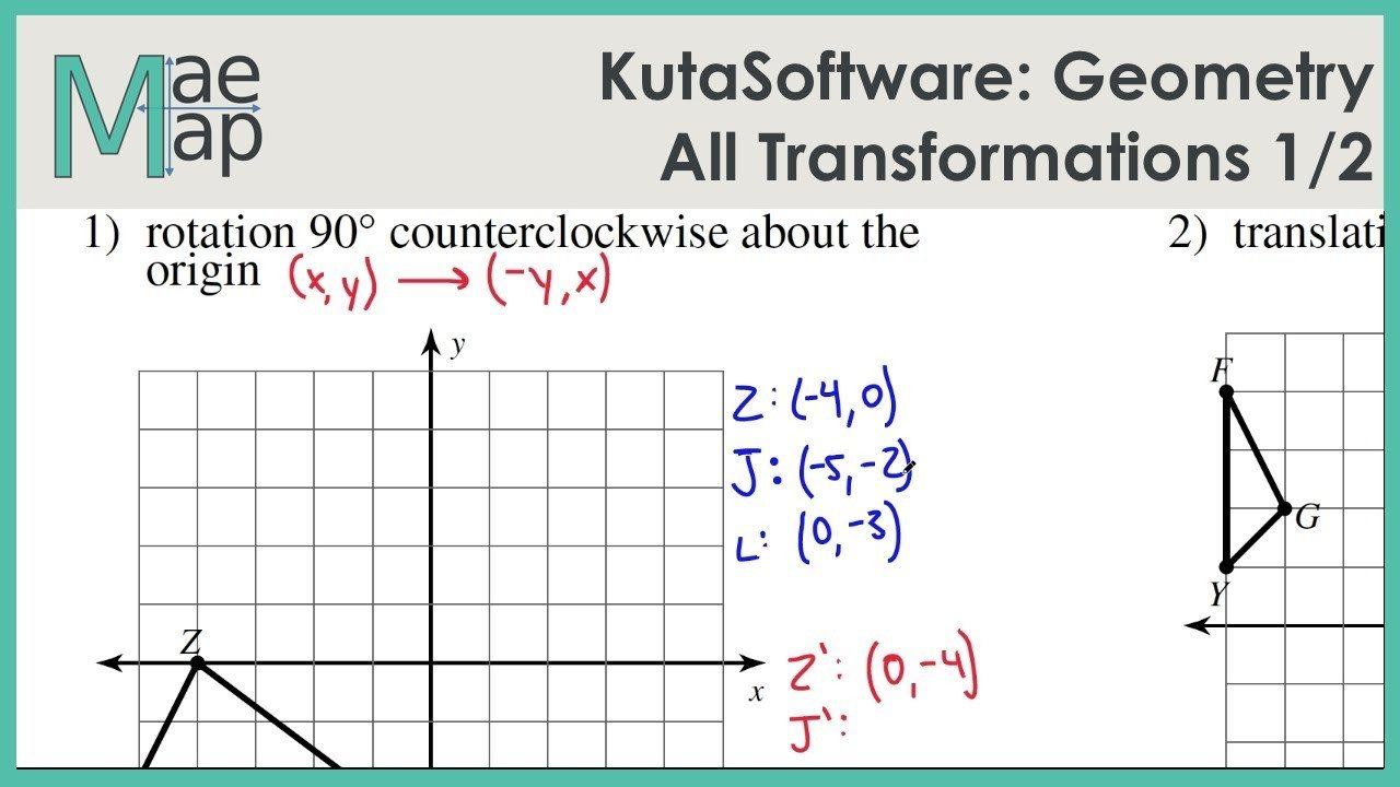Translations Geometry Worksheets Kutasoftware Geometry All Transformations Part 1