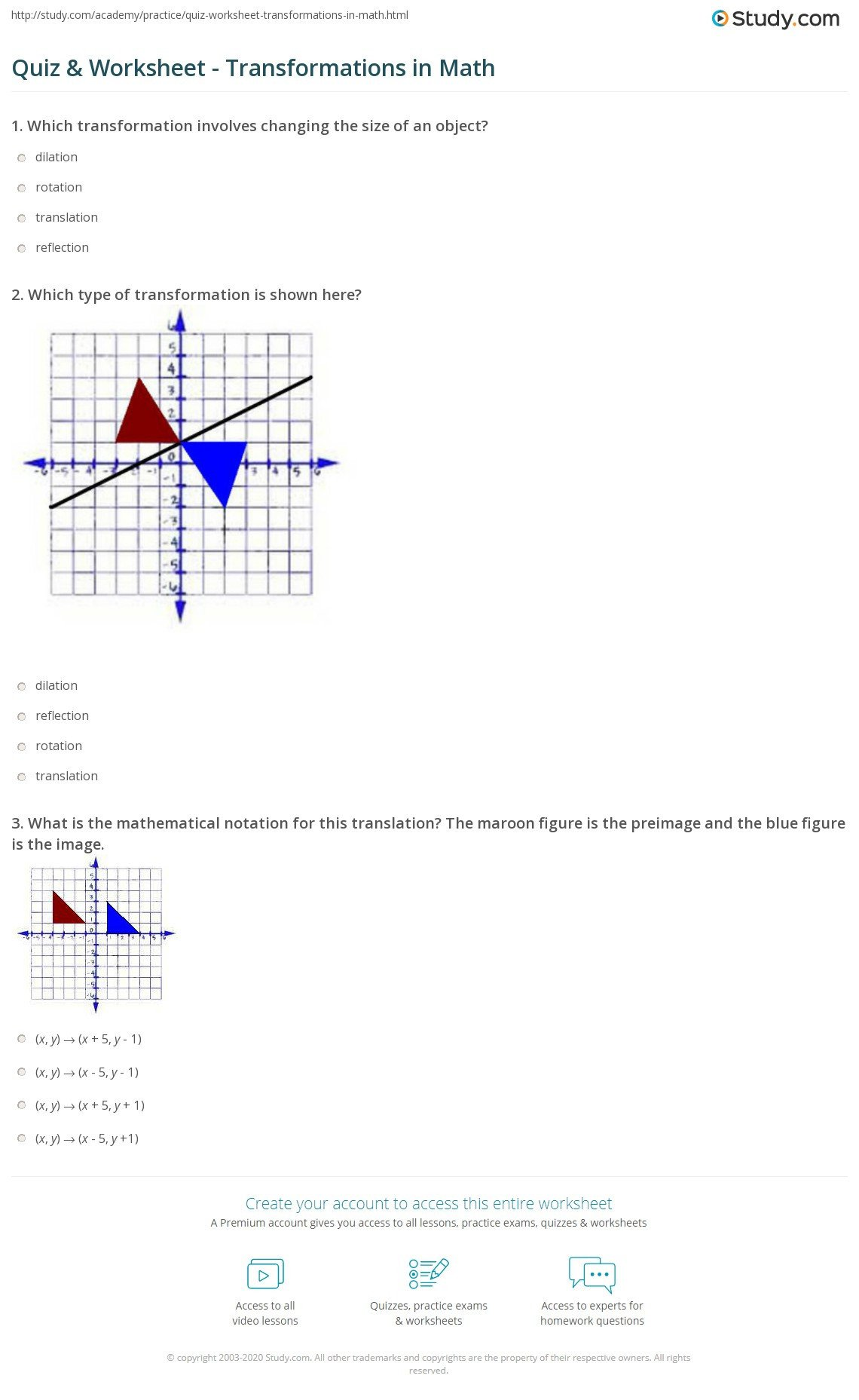 quiz worksheet transformations in math
