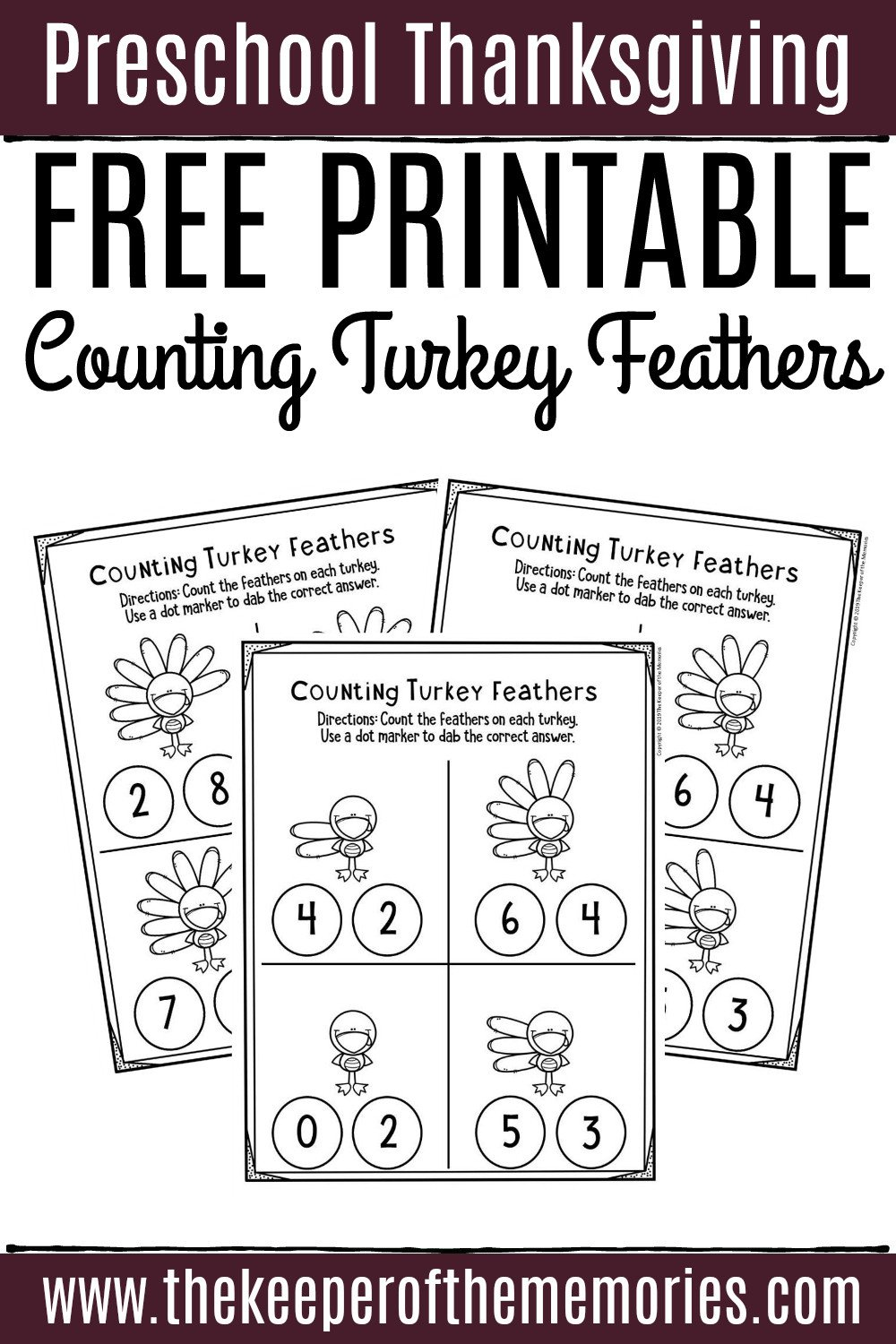 Turkey Math Worksheet Free Printable Counting Thanksgiving Preschool Worksheets