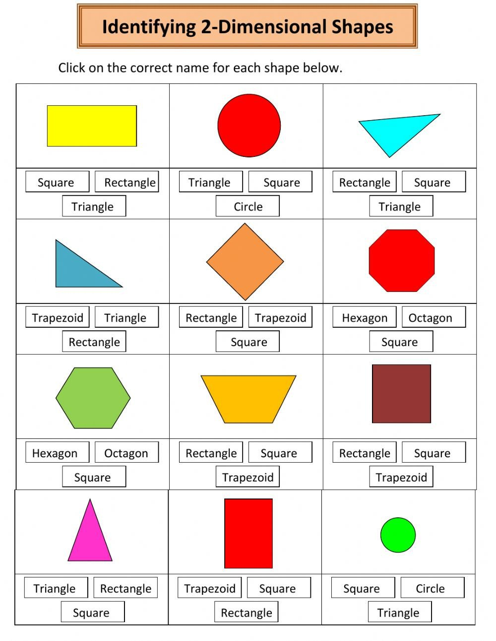 Naming 2 Dimensional Shapes Interactive worksheet
