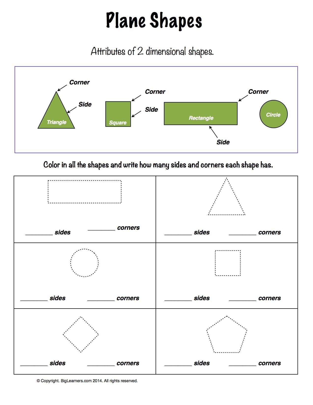 Two Dimensional Shapes Worksheets Worksheet Plane Shapes