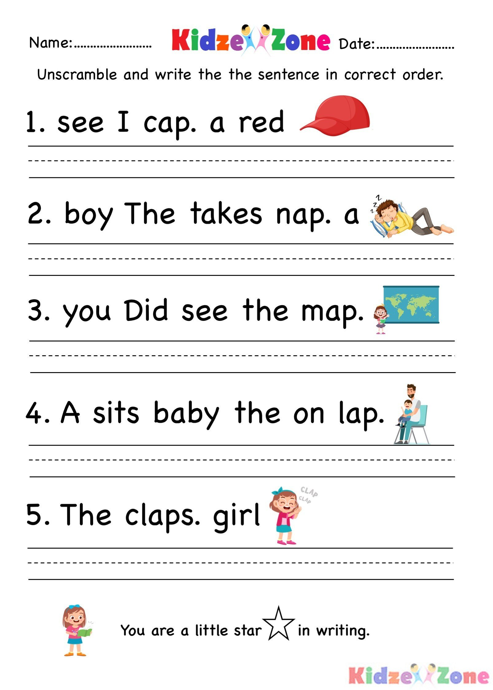 Unscramble Sentences Worksheet Kindergarten Worksheet Ap Word Family