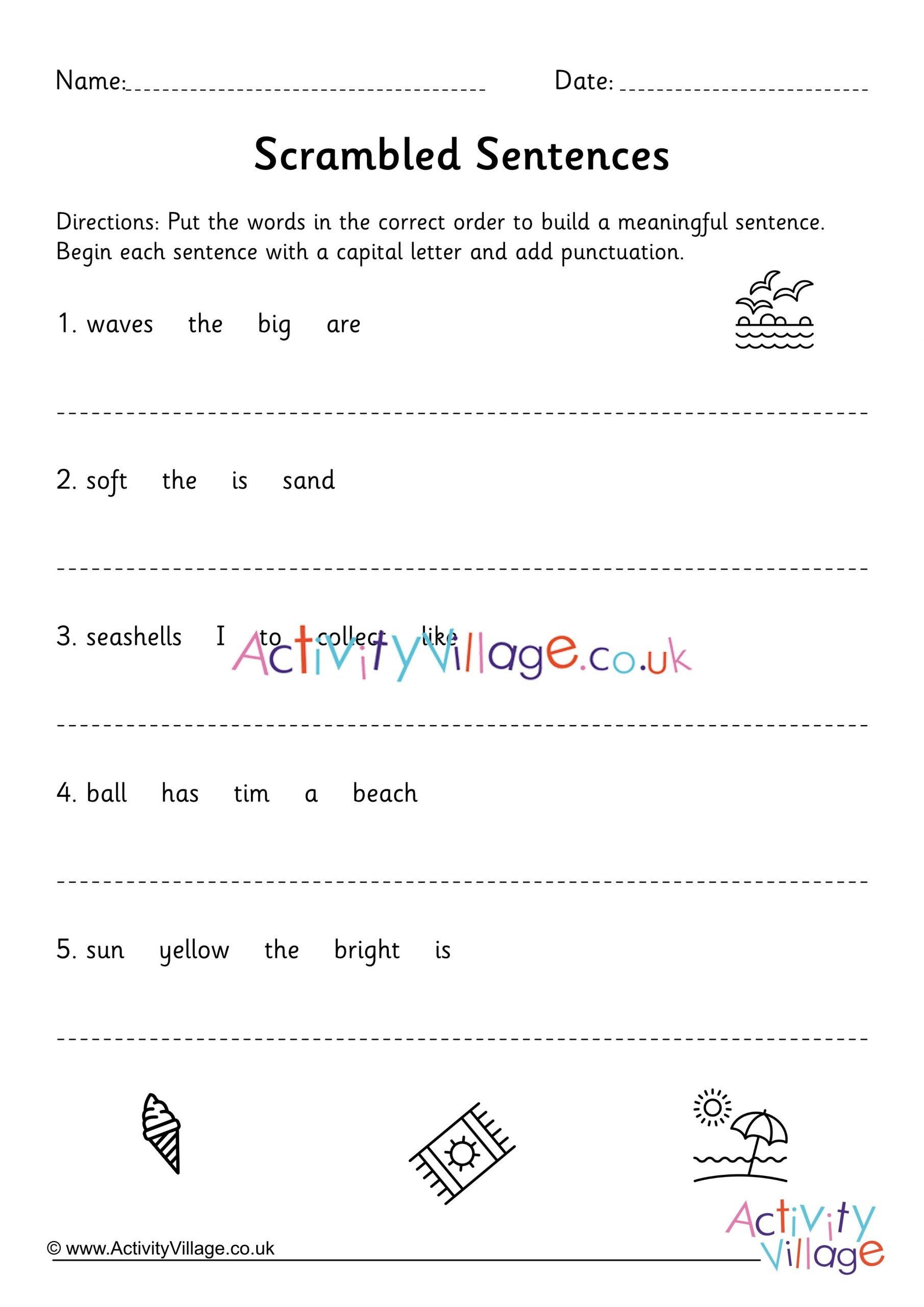 Unscramble Sentences Worksheet Scrambled Sentences Worksheet Ks1