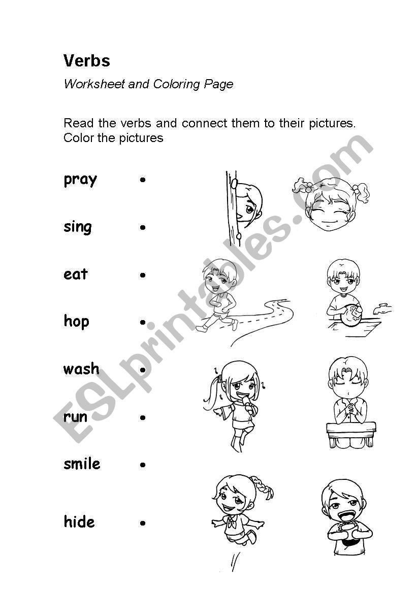 Verbs Worksheets First Grade Verbs Action Words Worksheet Coloring Esl Verb Worksheets