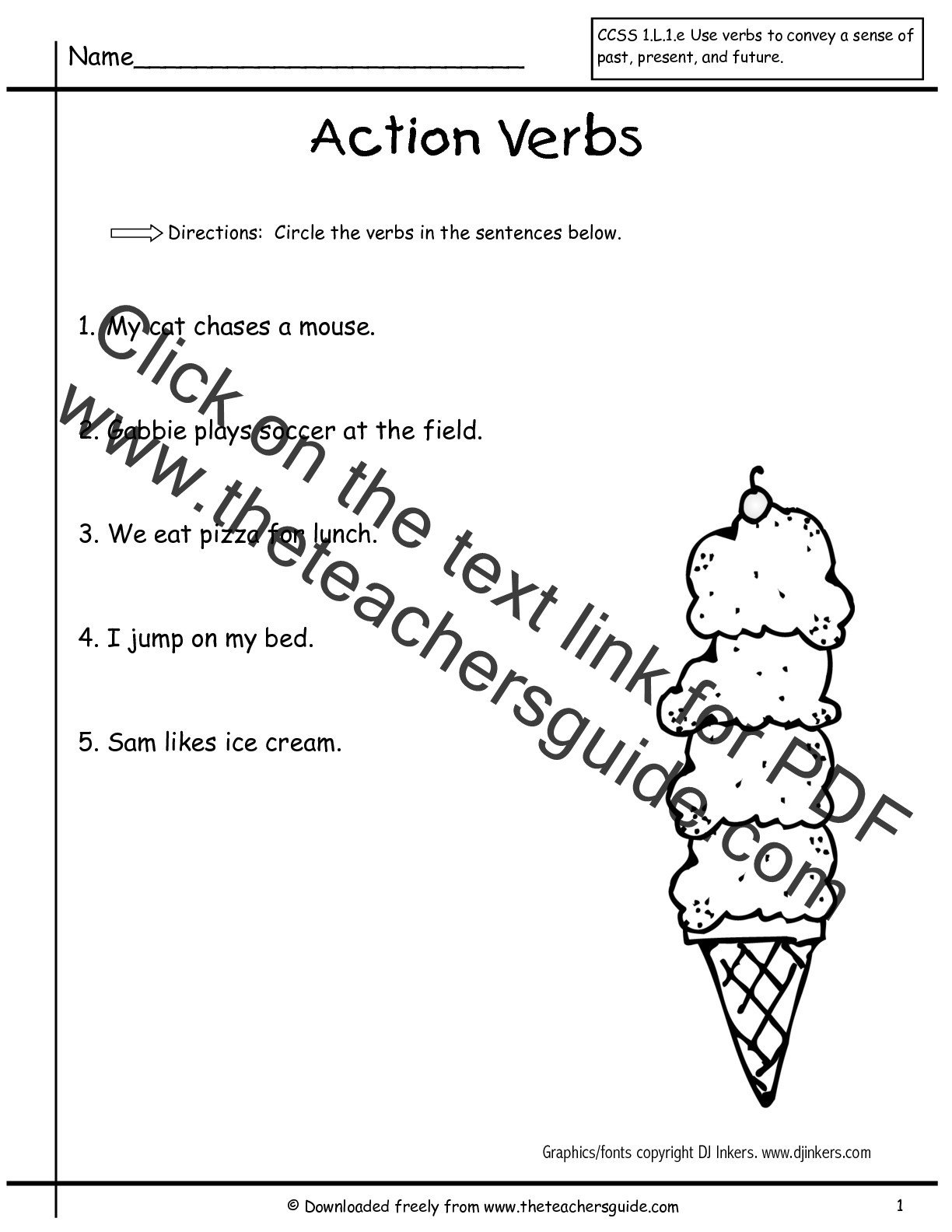 Verbs Worksheets First Grade Worksheet Verbs