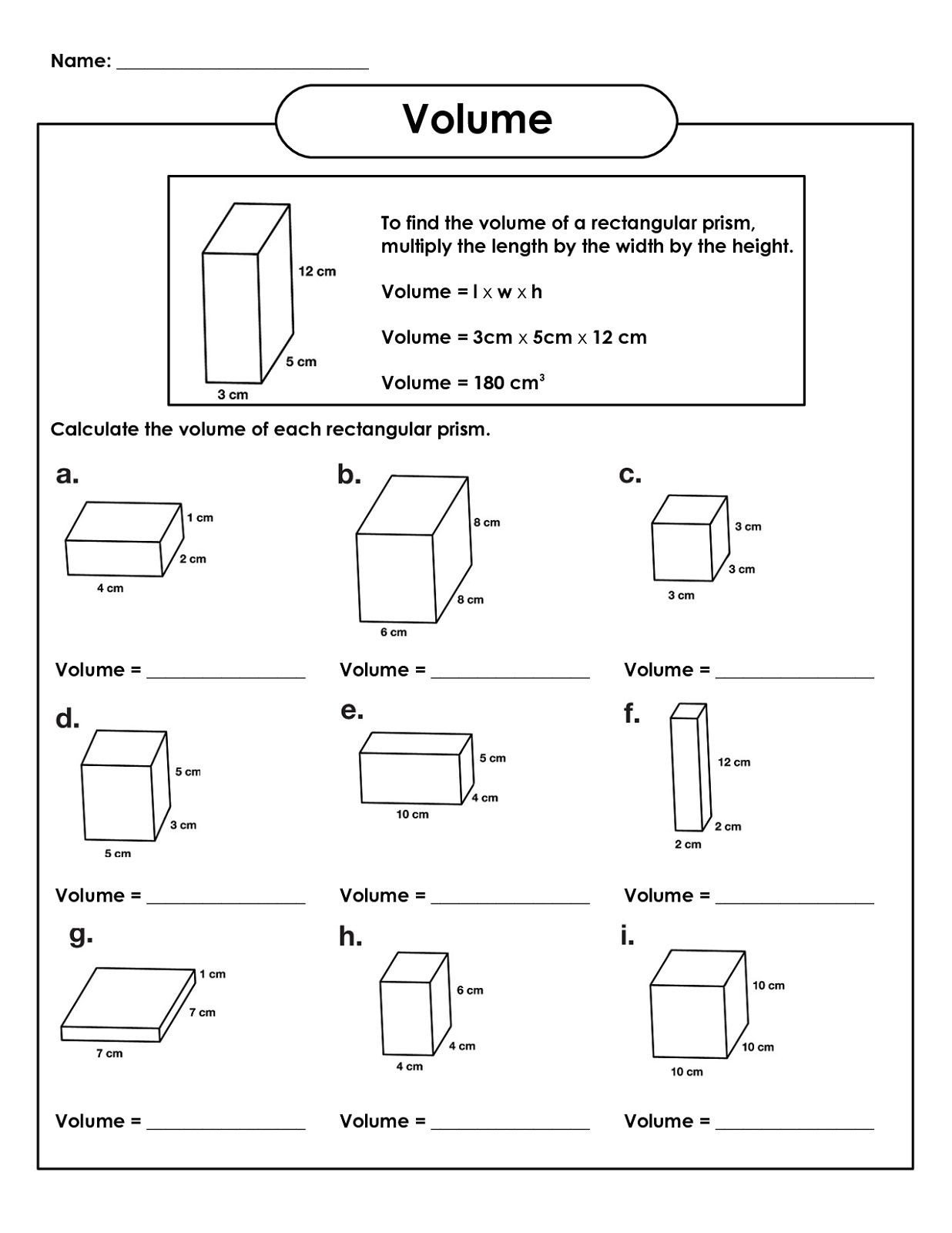 Volume Worksheet 4th Grade Rectangular Prism Volume 5th Grade Math Worksheets