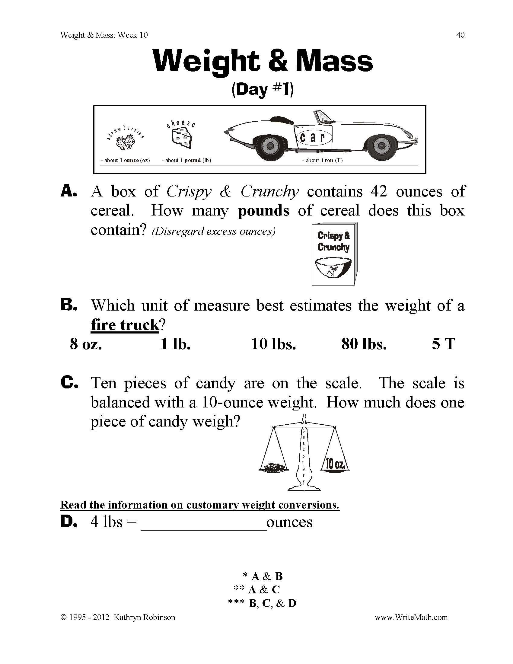 Volume Worksheet 4th Grade Teaching Weight & Mass 3rd 4th 5th Grade Math Worksheets
