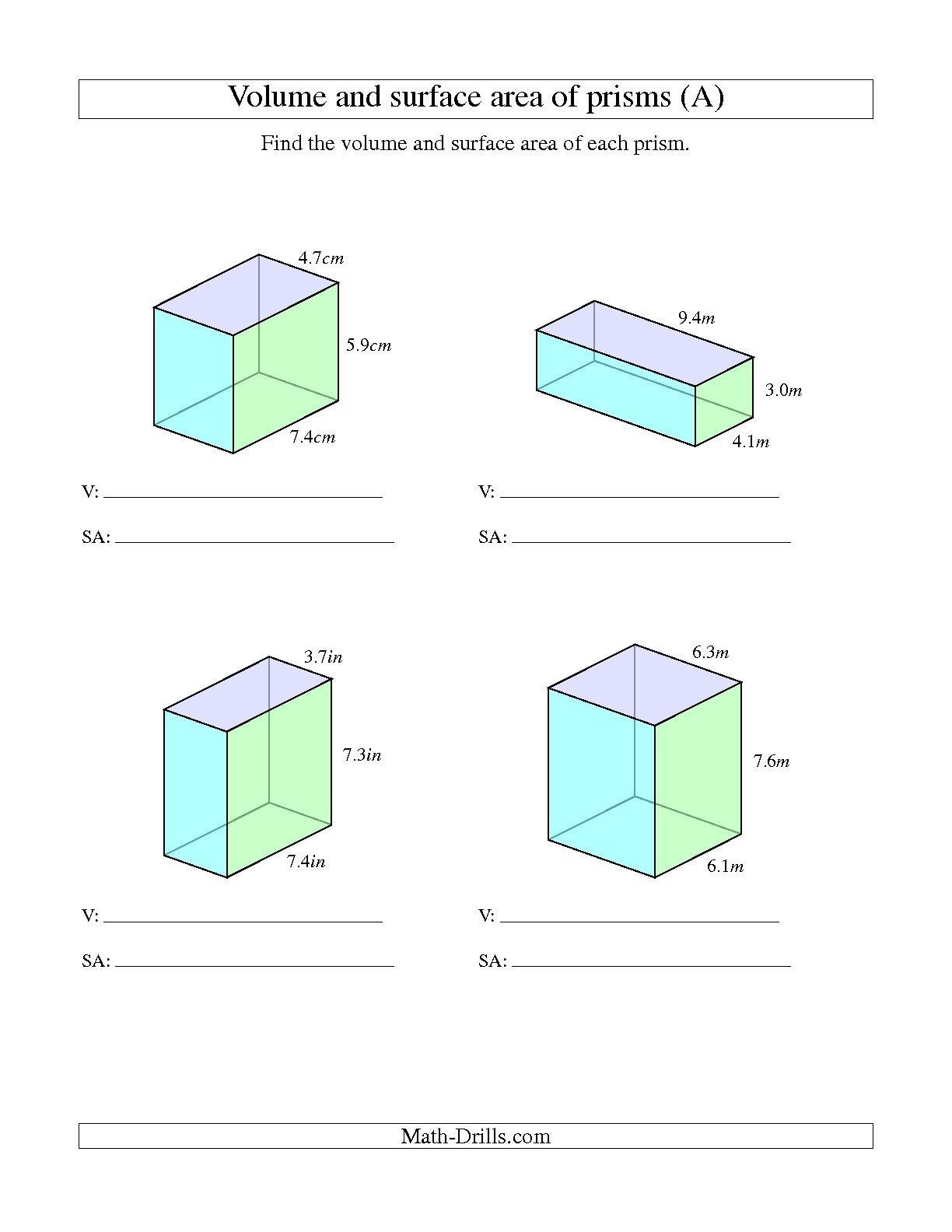Volume Worksheet 4th Grade the Volume and Surface area Of Rectangular Prisms with