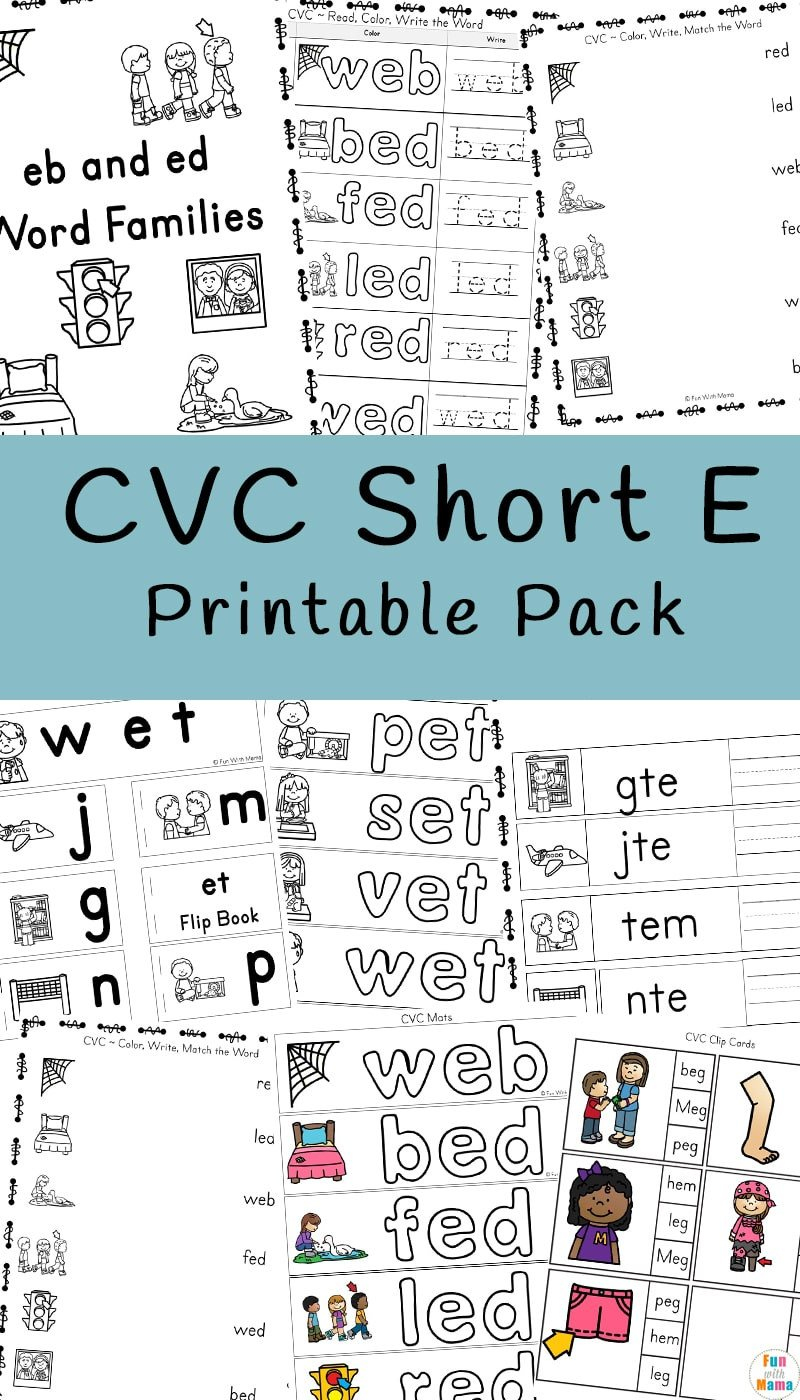 Vowel Consonant E Worksheets Cvc Short E Words Worksheets Fun with Mama