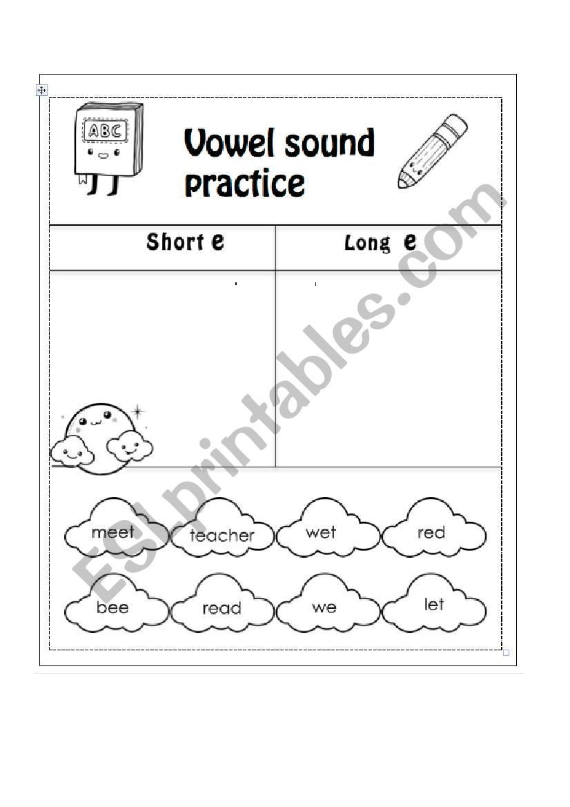 Vowel Consonant E Worksheets Short E Long E Esl Worksheet by Macrodrigueze