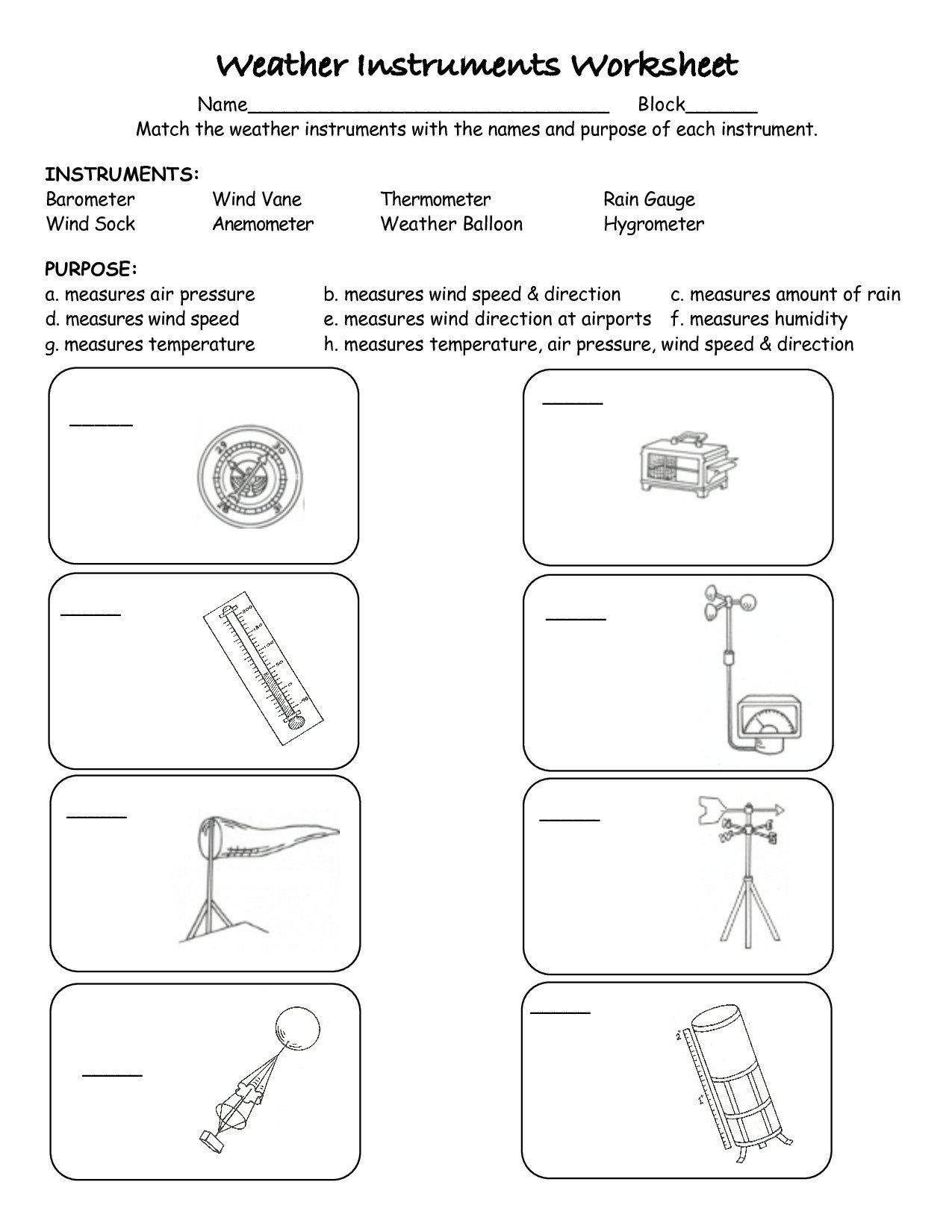 Weather tools Worksheet Science 4th Grade Worksheets Ecosystems