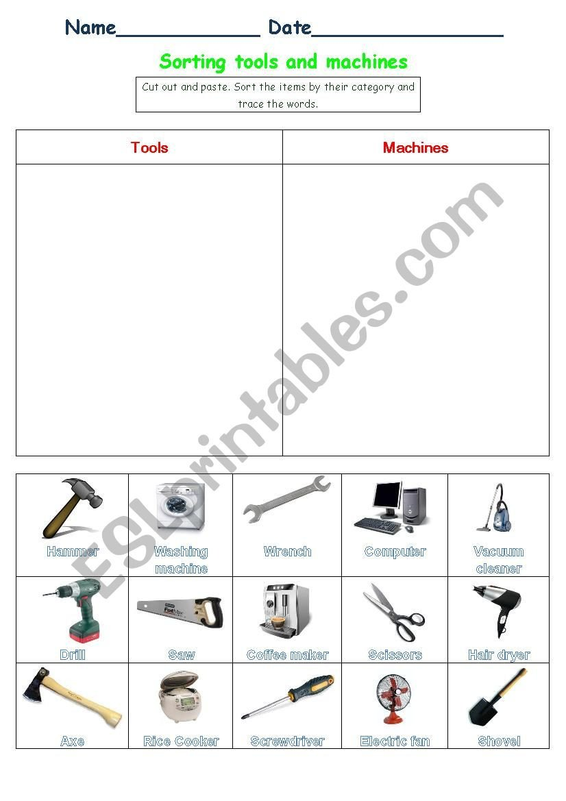 Sorting tools and machines