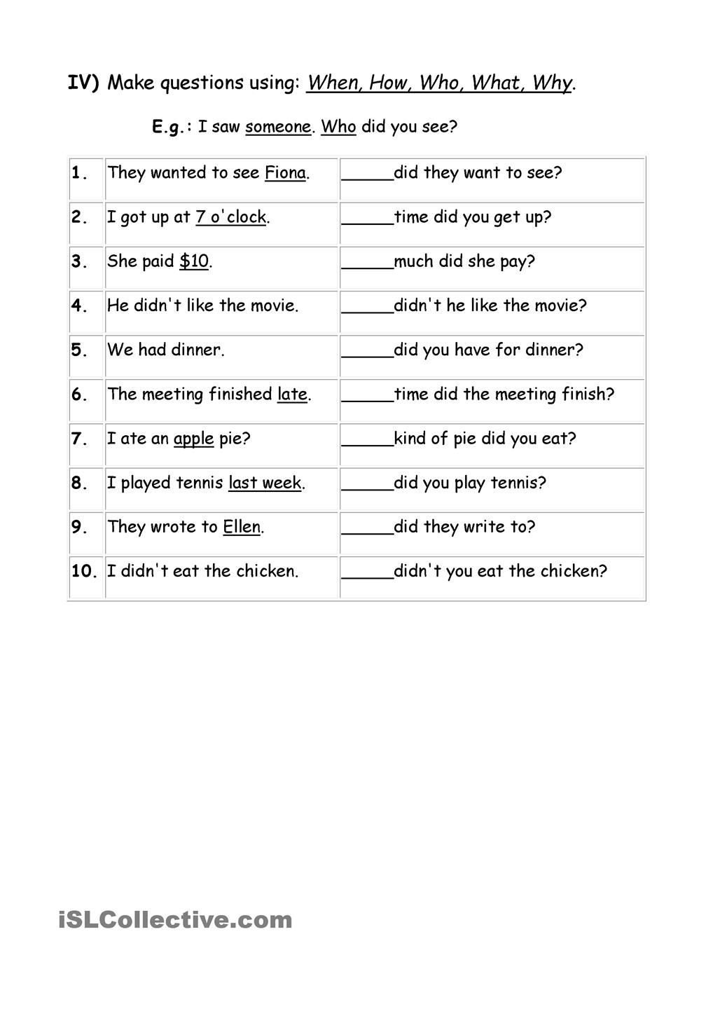 Wh Questions Worksheets Pdf Exercises Wh Question Words