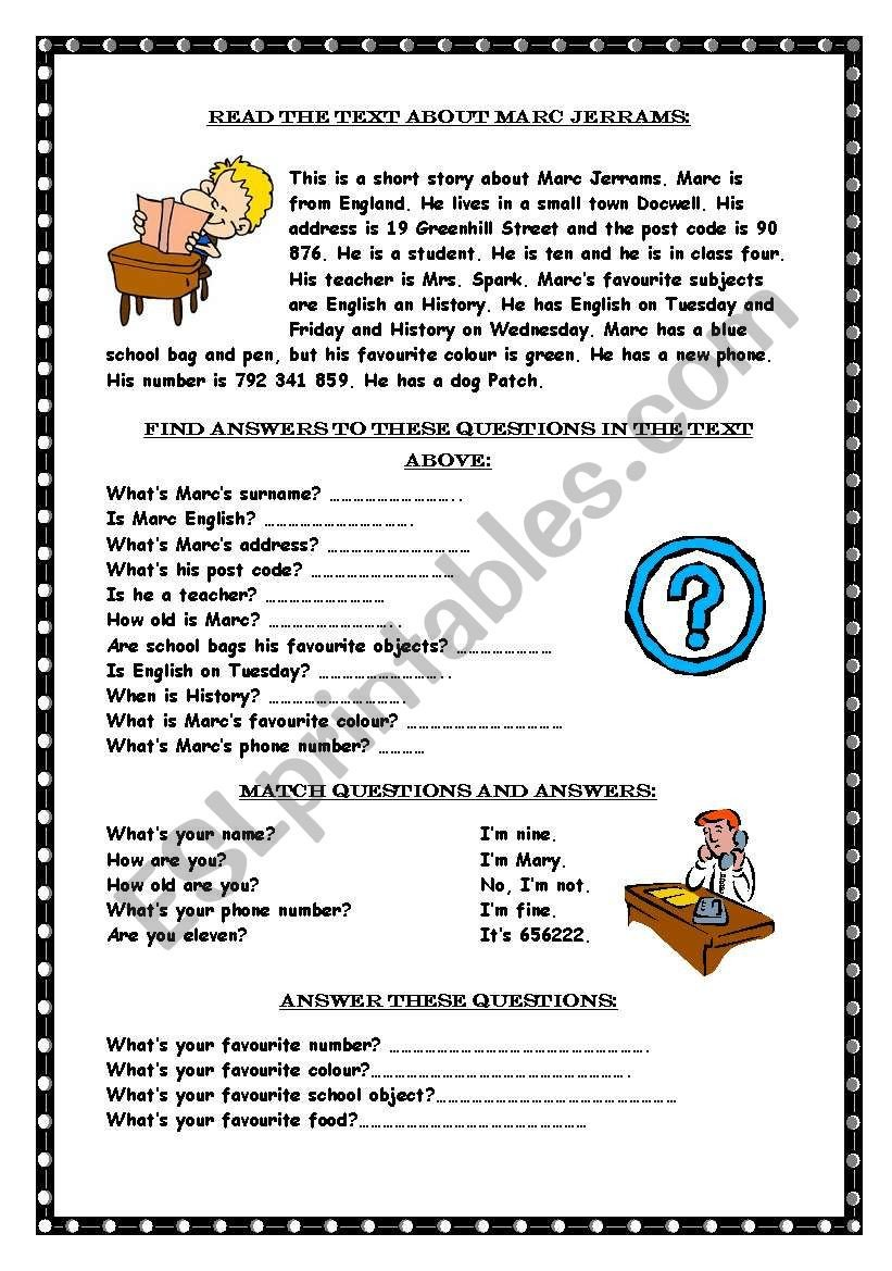 Wh Questions Worksheets Pdf Reading Prehension Wh Questions Esl Worksheet by Marywell