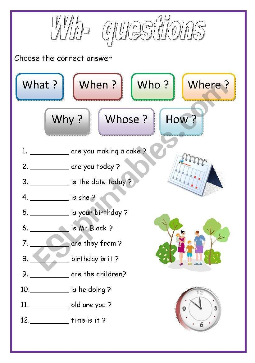 Wh Questions Worksheets Pdf Wh Questions English for Beginners Esl Worksheet by