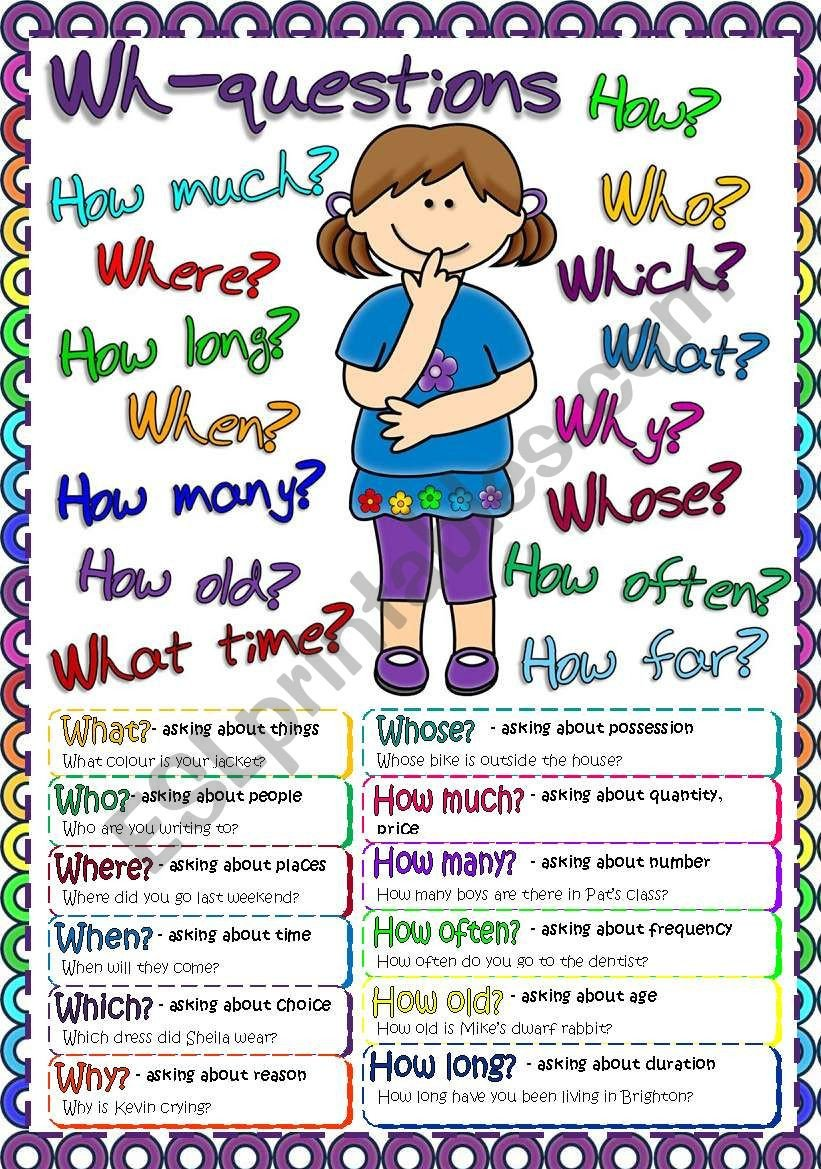 Wh Questions Worksheets Pdf Wh Questions Poster Esl Worksheet by Mada 1