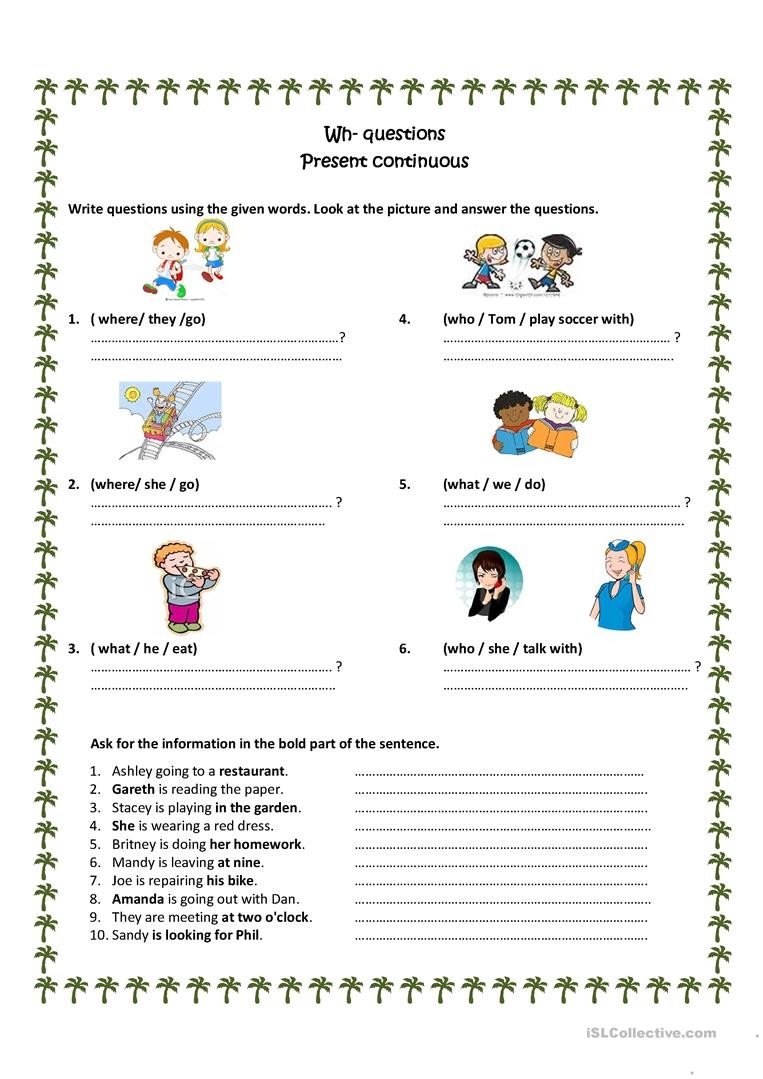 Wh Questions Worksheets Pdf Wh Questions Present Progressive English Esl Worksheets