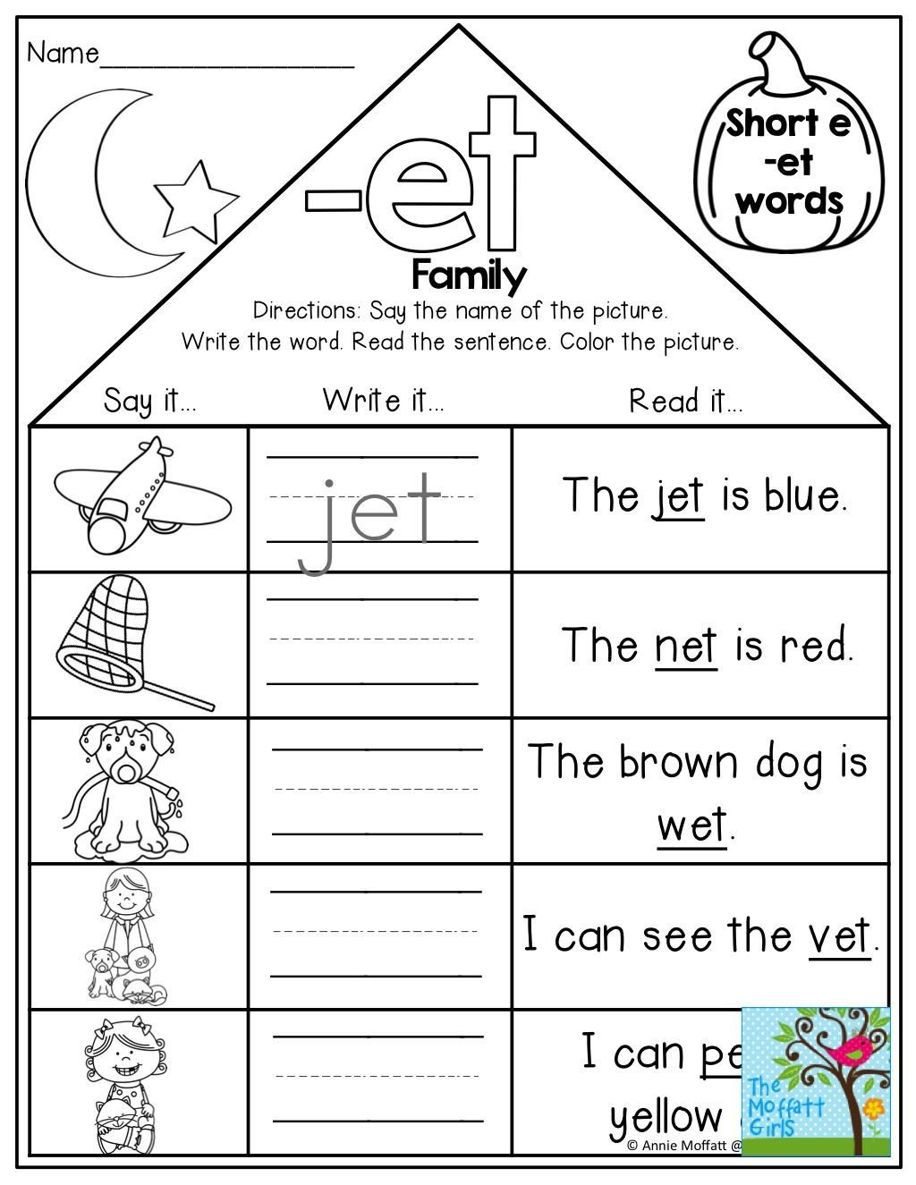Word Family Worksheet Kindergarten Word Family Houses and tons Of Other Fun Printables