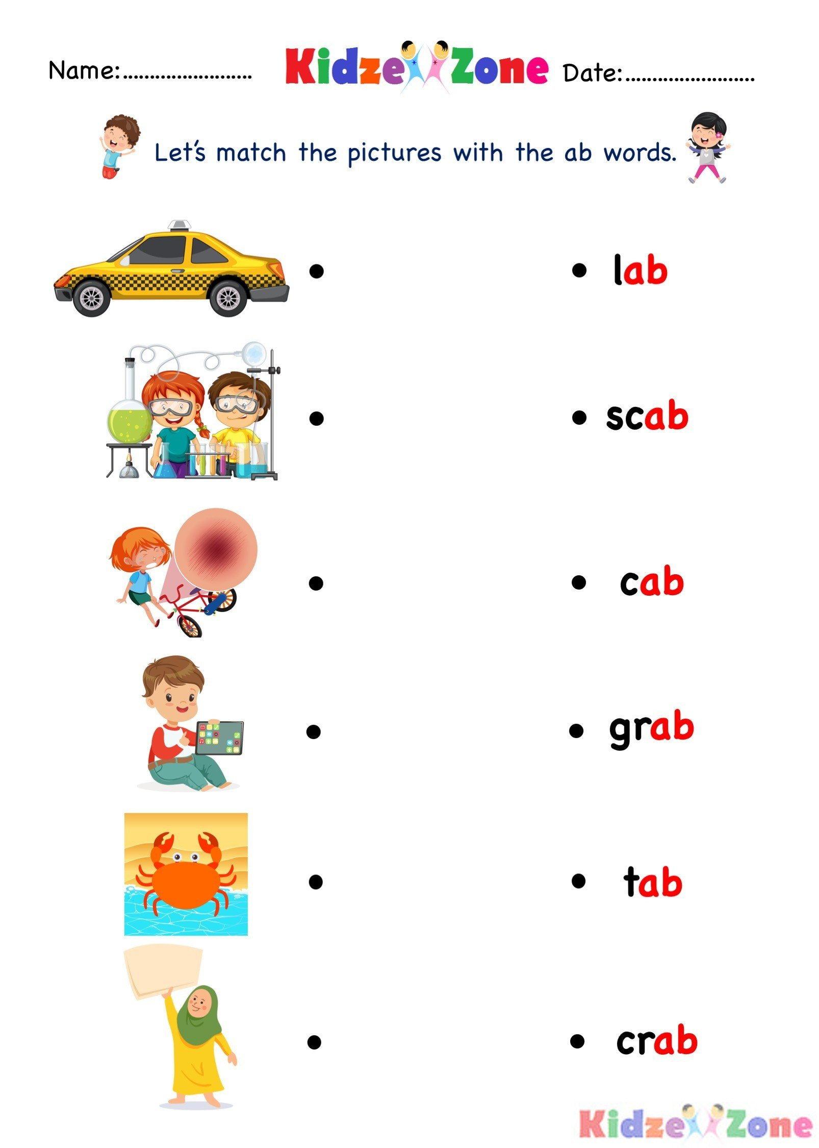 Kindergarten worksheet ab word family find and match