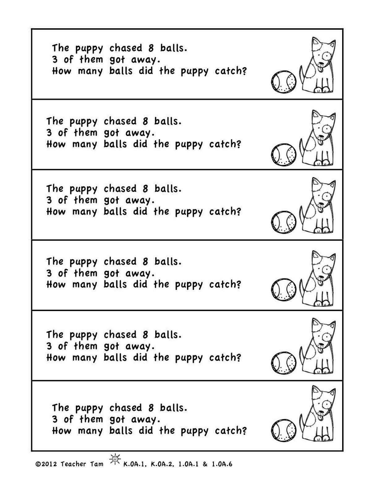Kindergarten Addition Word Problems Worksheets Addition and