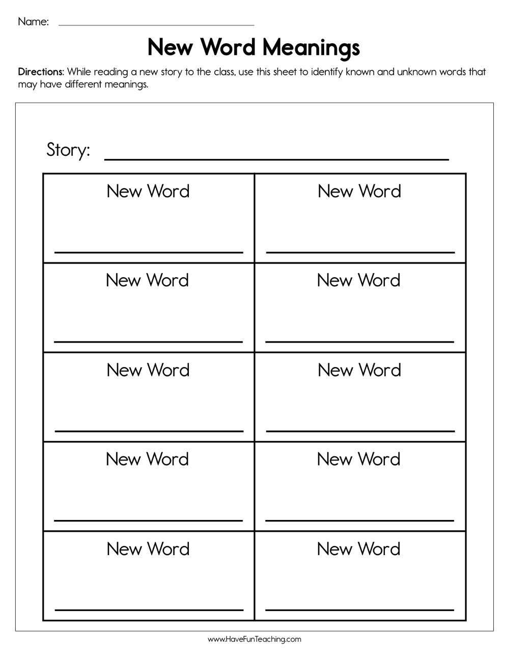 Words with Multiple Meanings Worksheets New Word Meanings Worksheet