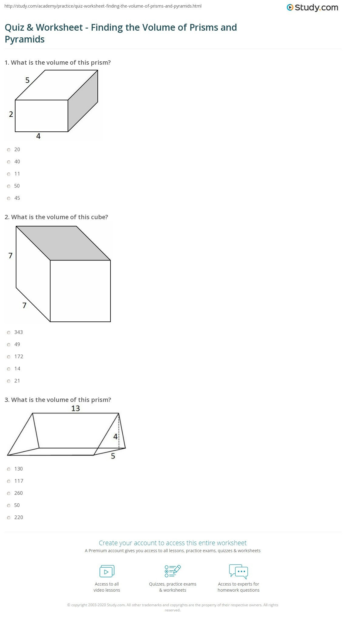 quiz worksheet finding the volume of prisms and pyramids