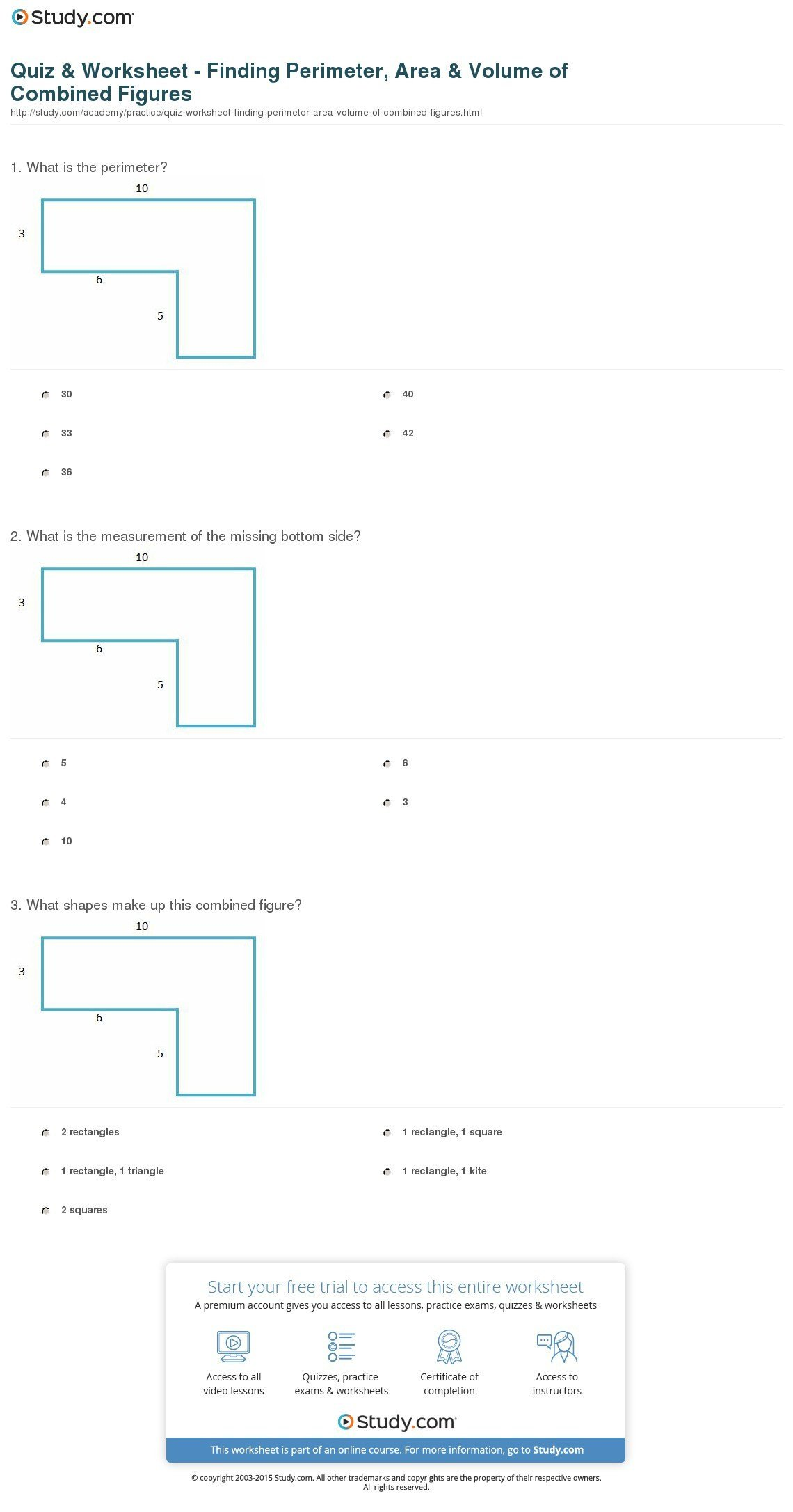 perimeter and area worksheet answers print bined figures perimeter area and volume worksheet