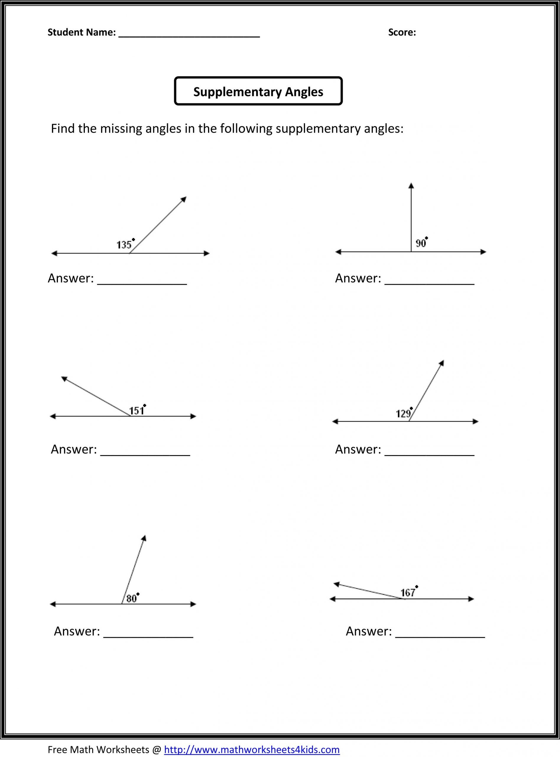 6th grade math worksheets angles