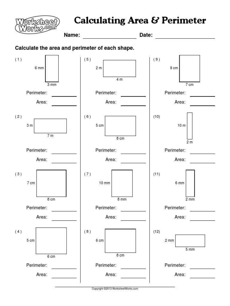 Worksheet Works Calculating Volume Worksheetworks Calculating area Perimeter 1