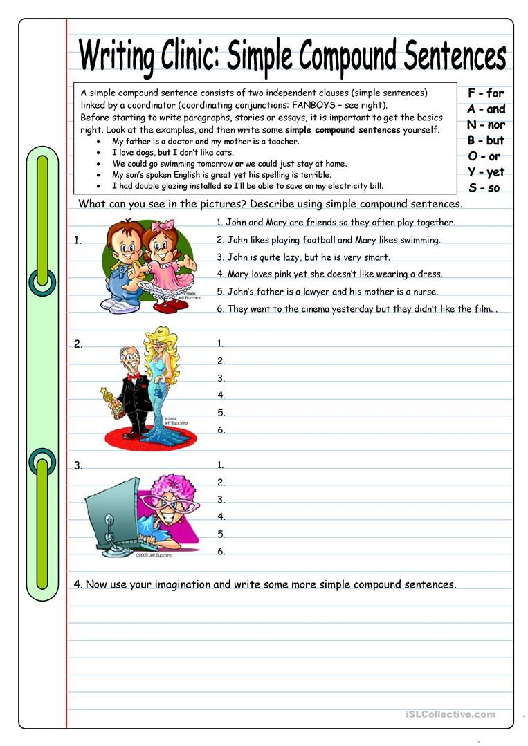 writing clinic simple pound sentences fun activities games 4988 1