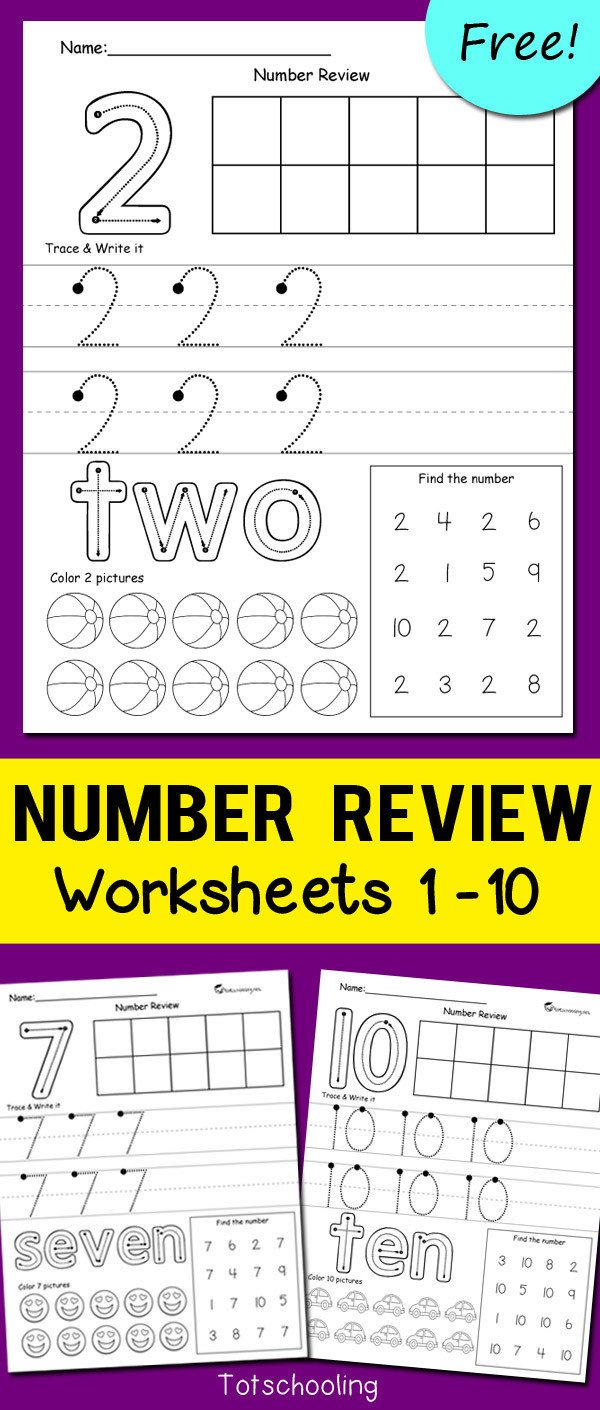 1 10 Writing Worksheets Number Review Worksheets