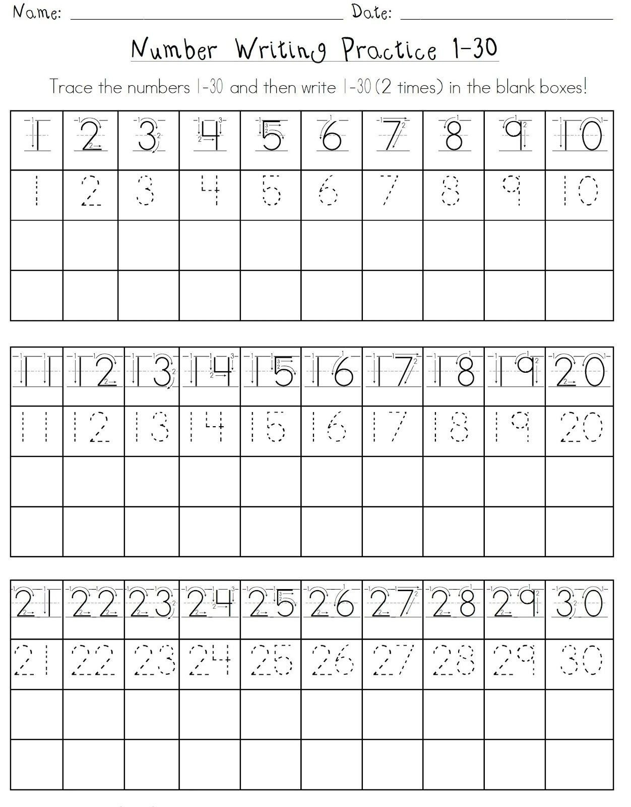 1 10 Writing Worksheets Printable Number 1 30 Worksheets