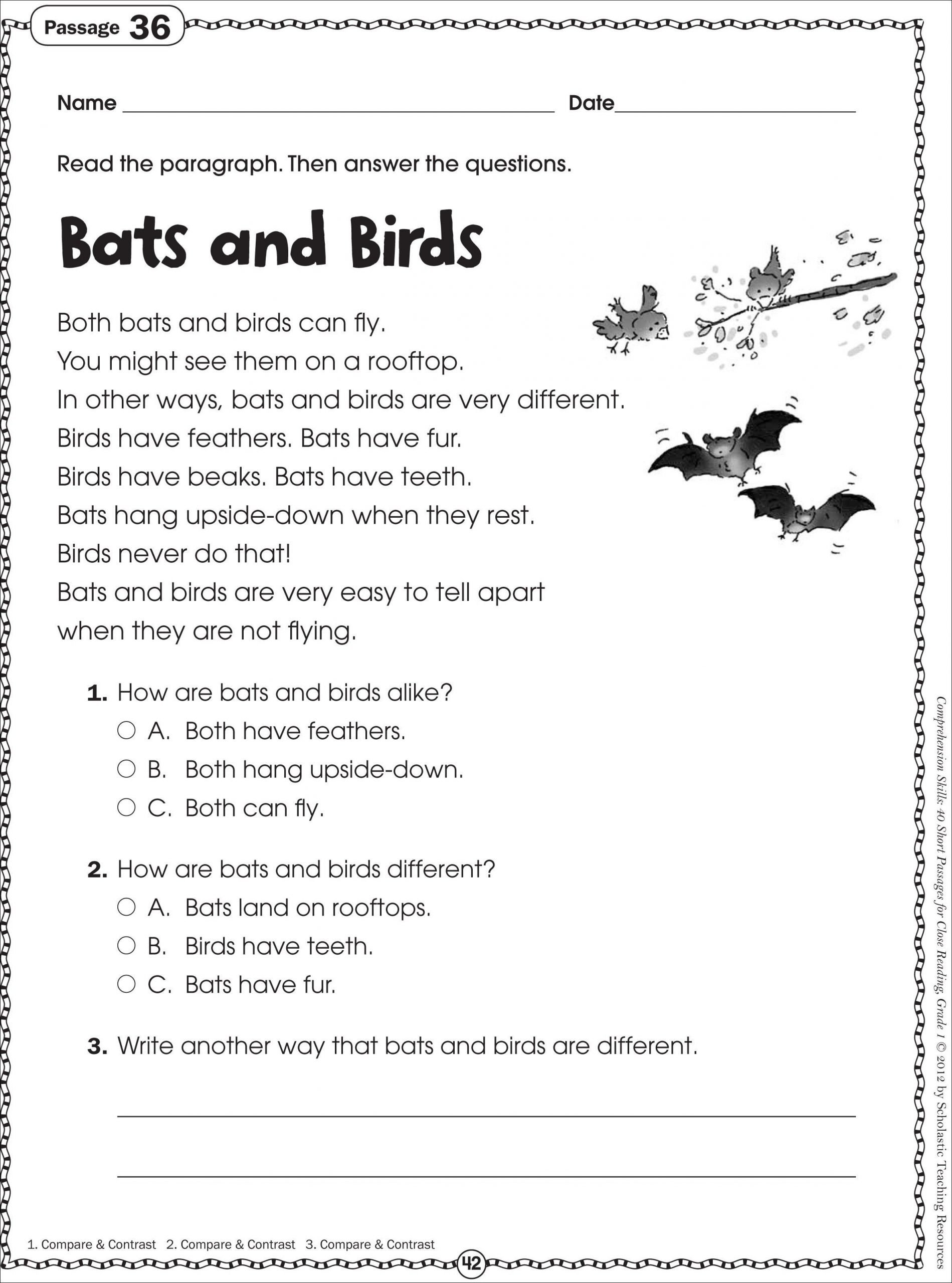 1st Grade Comprehension Worksheets Free Free Printable Reading Prehension Worksheets for