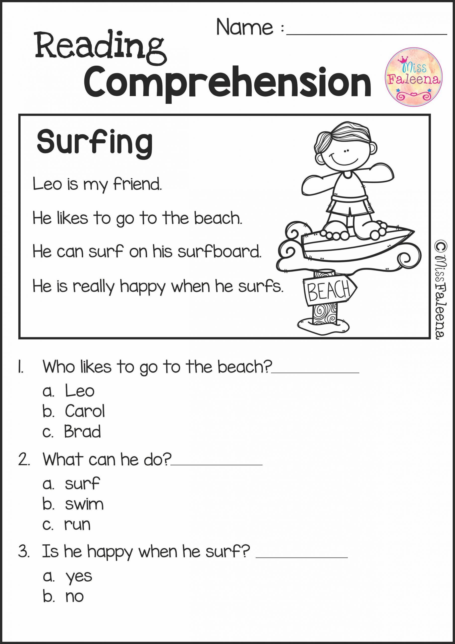 1st Grade Reading Fluency Worksheets Reading Prehension Set 2