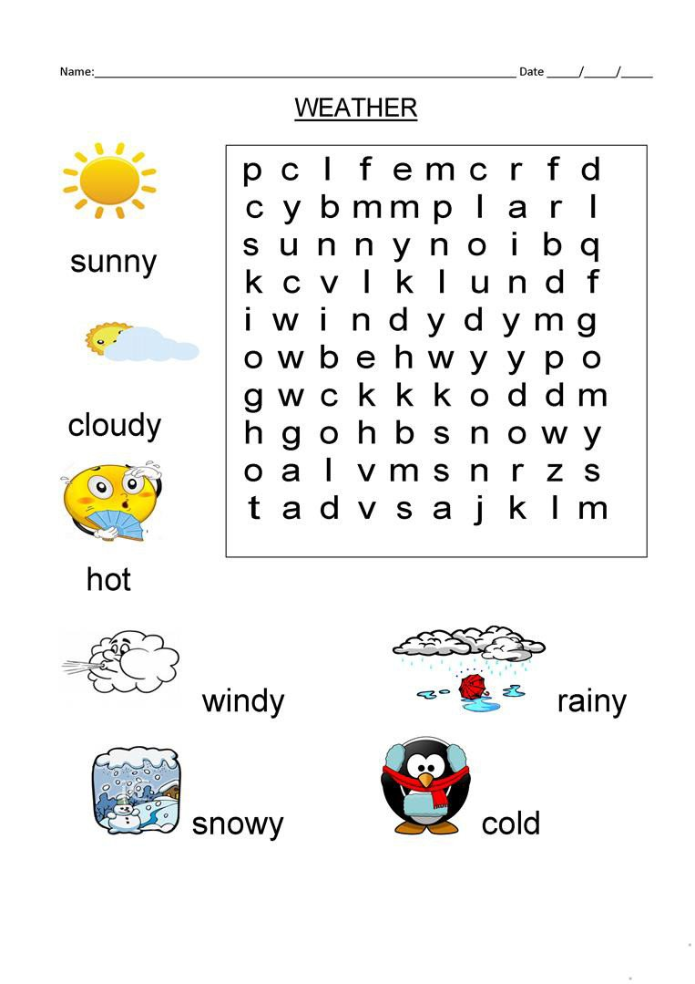 1st Grade Weather Worksheets 1st Grade Word Search Best Coloring Pages for Kids