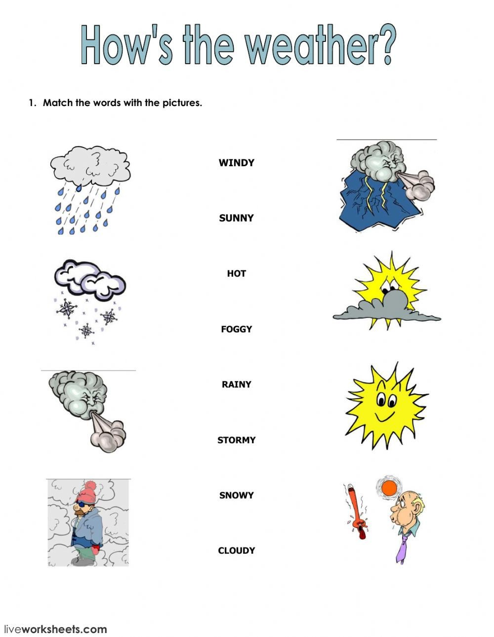 1st Grade Weather Worksheets Seasons and Clothes Interactive Worksheet