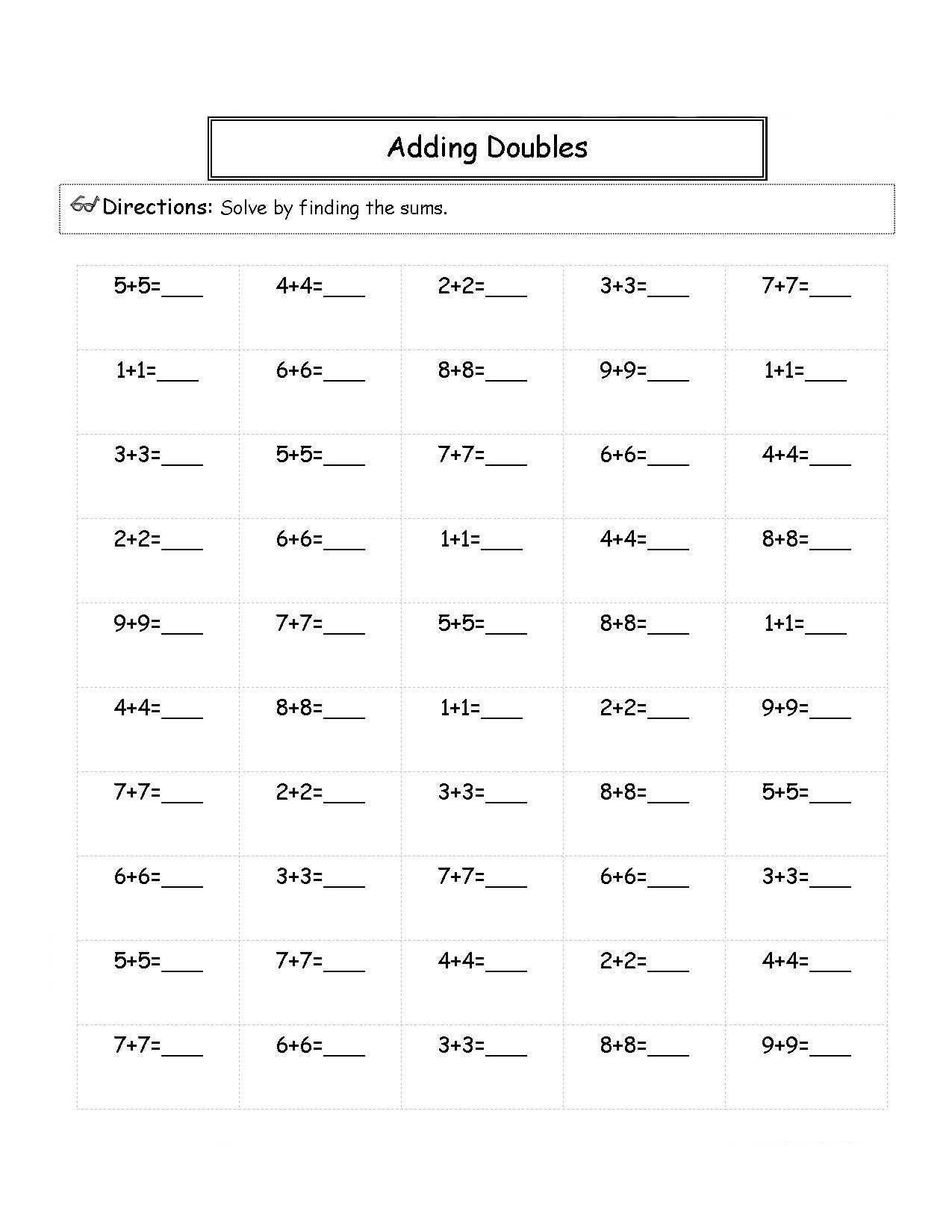 2nd Grade Math Worksheets Adding Doubles
