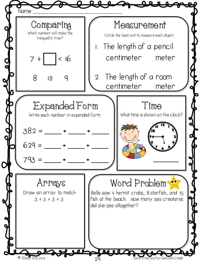 2nd Grade Math Worksheets Measurement Homework or Morning Work for 2nd Grade Free