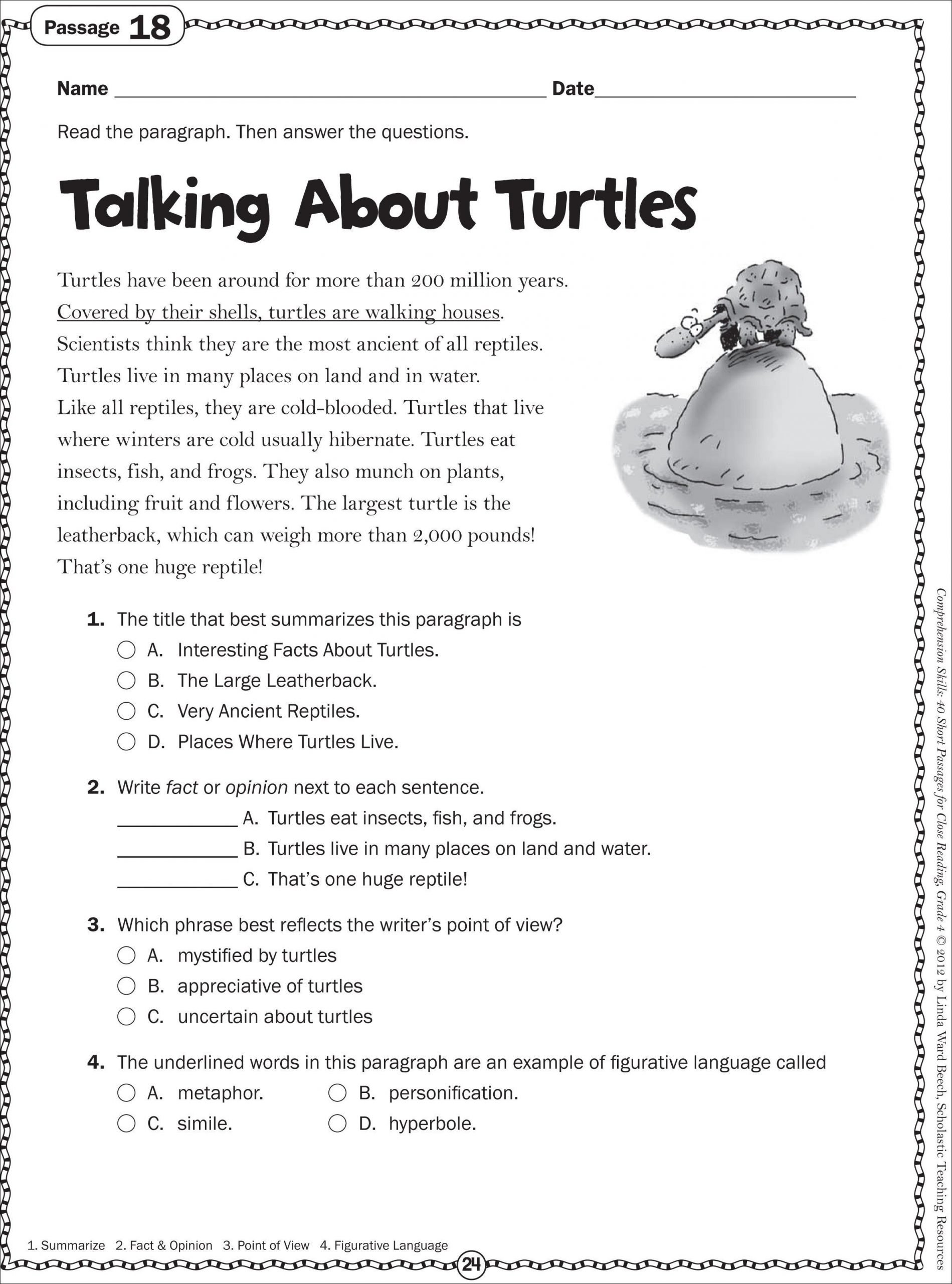 2nd Grade Reading Worksheets Printable Talking About Turtles Grade 4 Close Reading Passage