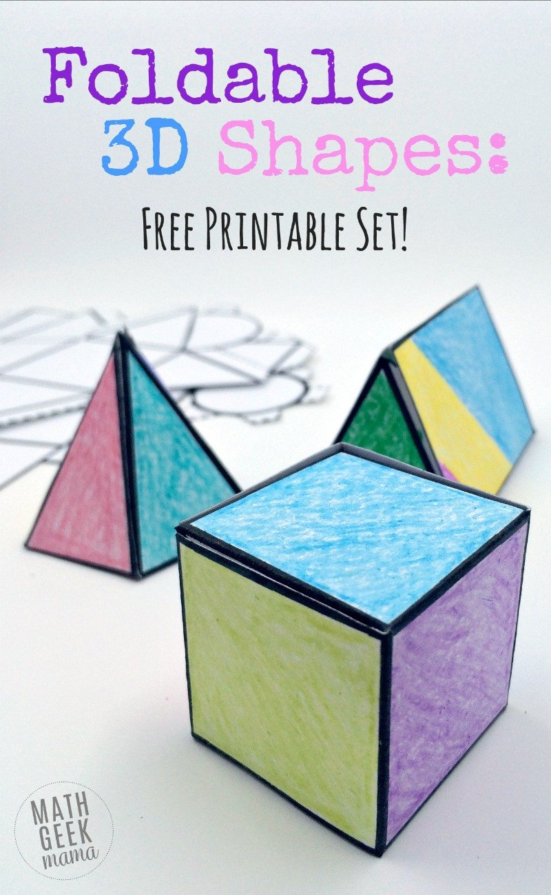 geometric nets for 3d shapes free printable pack
