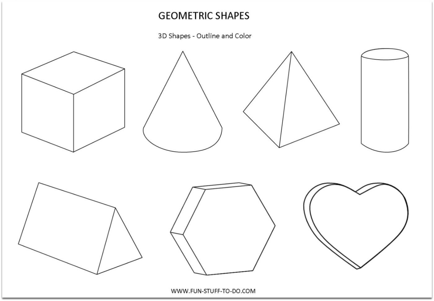 Geometric 3D Shape outlines to print cut color worksheet