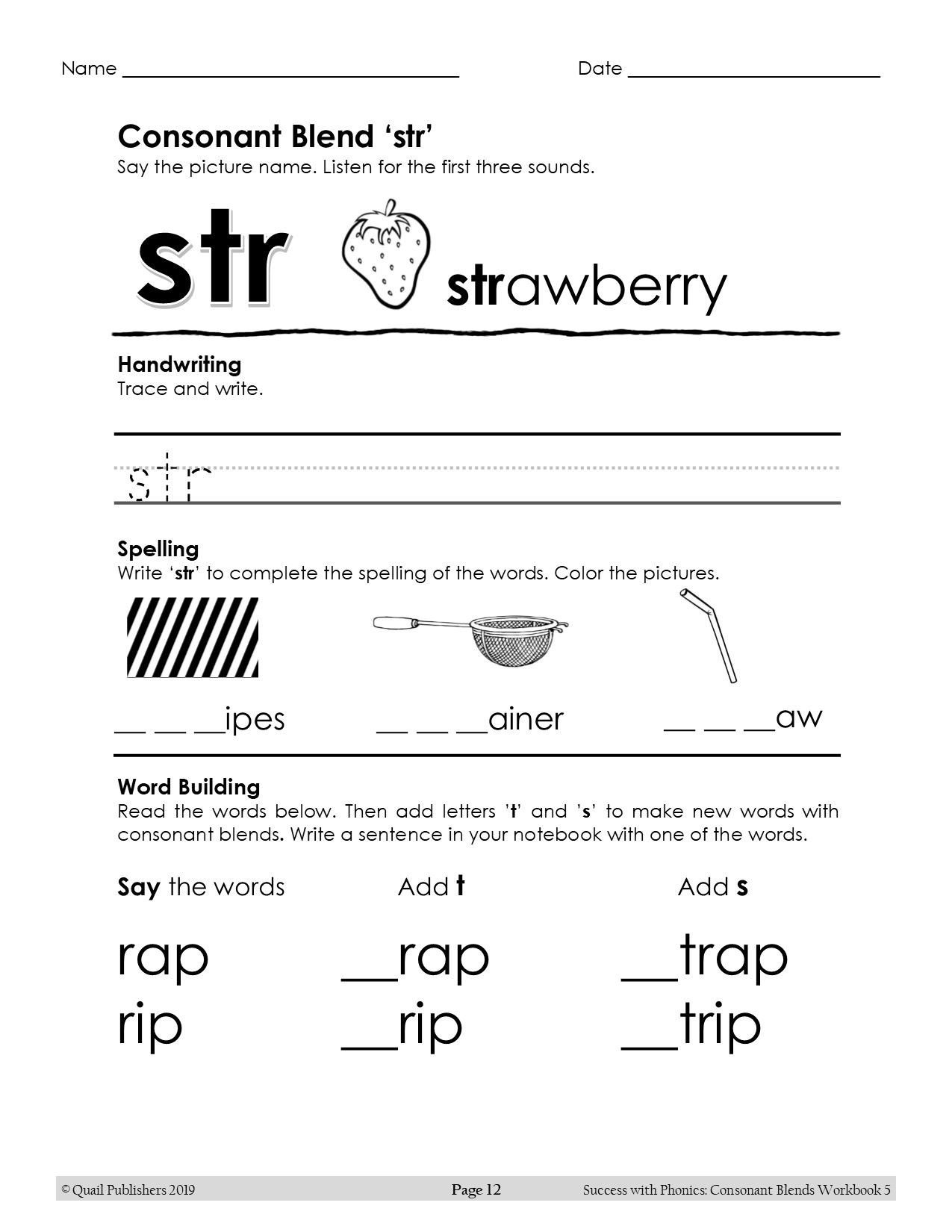 3 Letter Blends Worksheets Consonant Blends Three Letter Blends