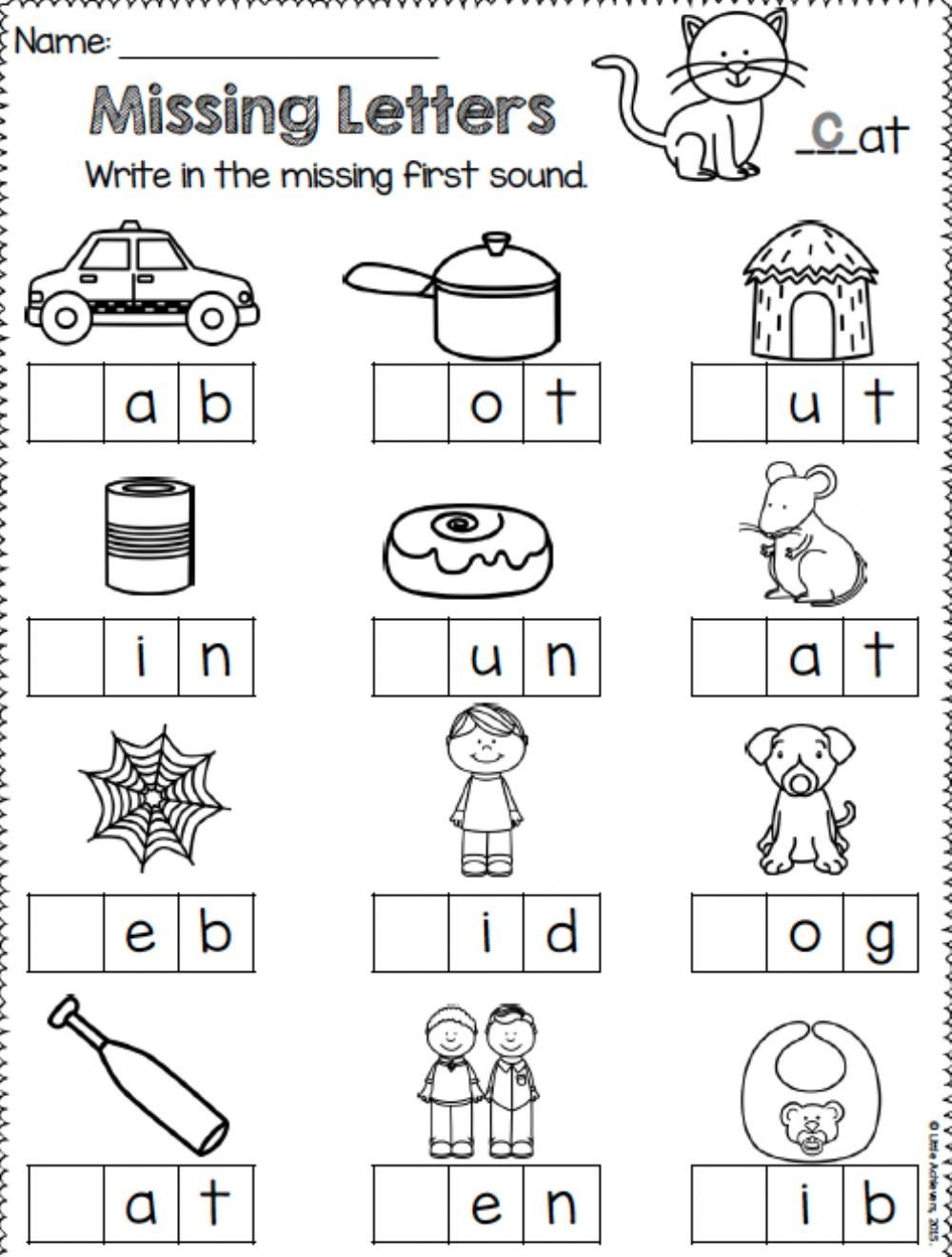3 Letter Blends Worksheets Missing Letters Interactive Worksheet
