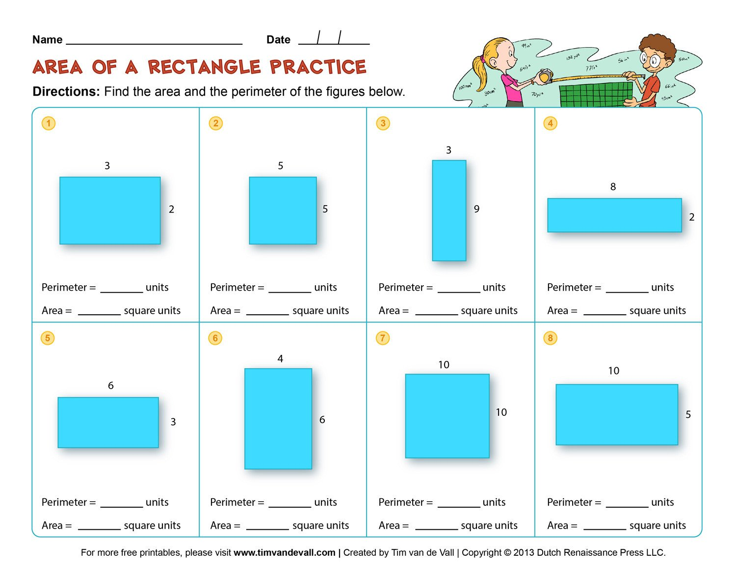 3rd Grade Perimeter Worksheets area Rectangles and Squares Worksheets 4th Grade