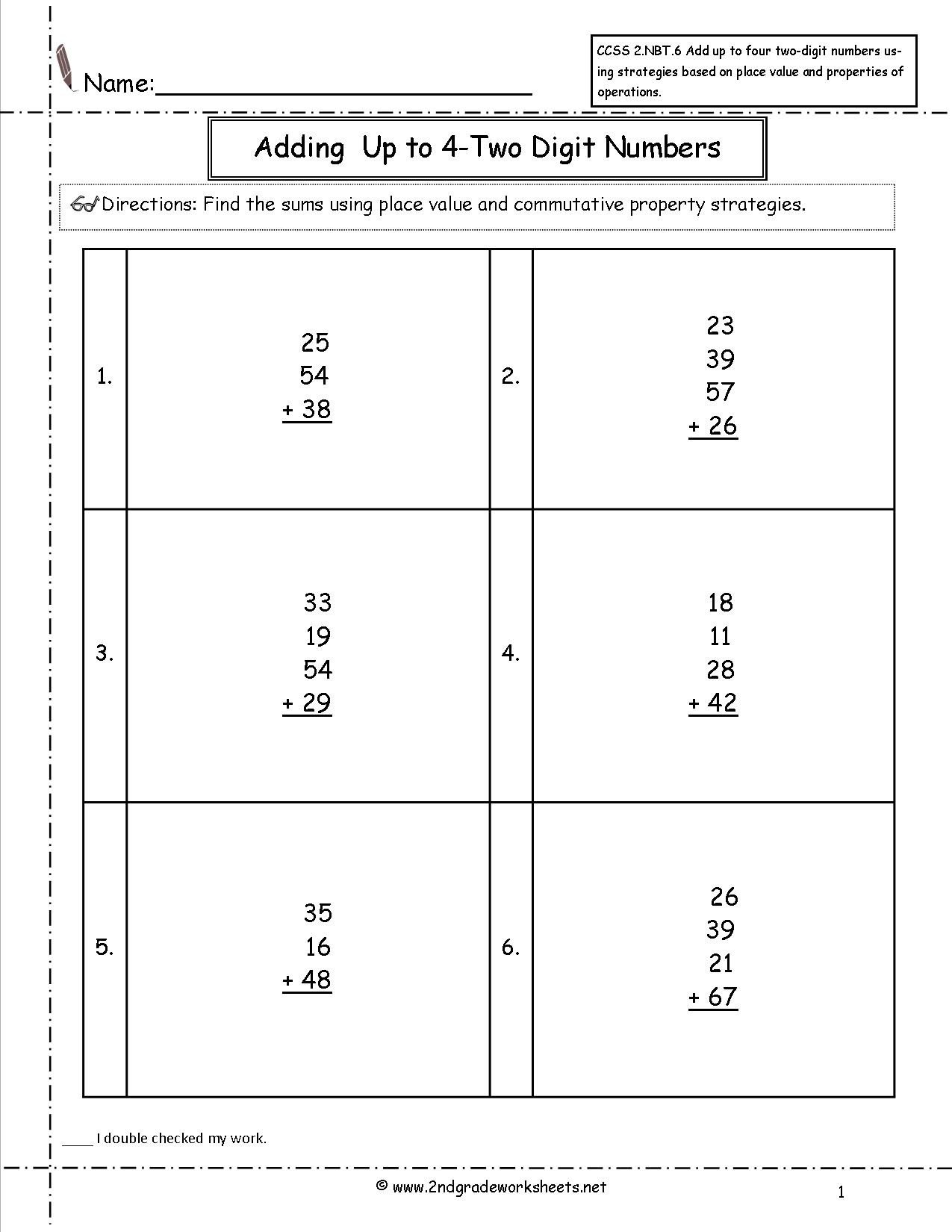 4 Nbt 6 Worksheets Add Four Numbers Worksheet Ccss 2 Nbt 6 Worksheets Adding Up
